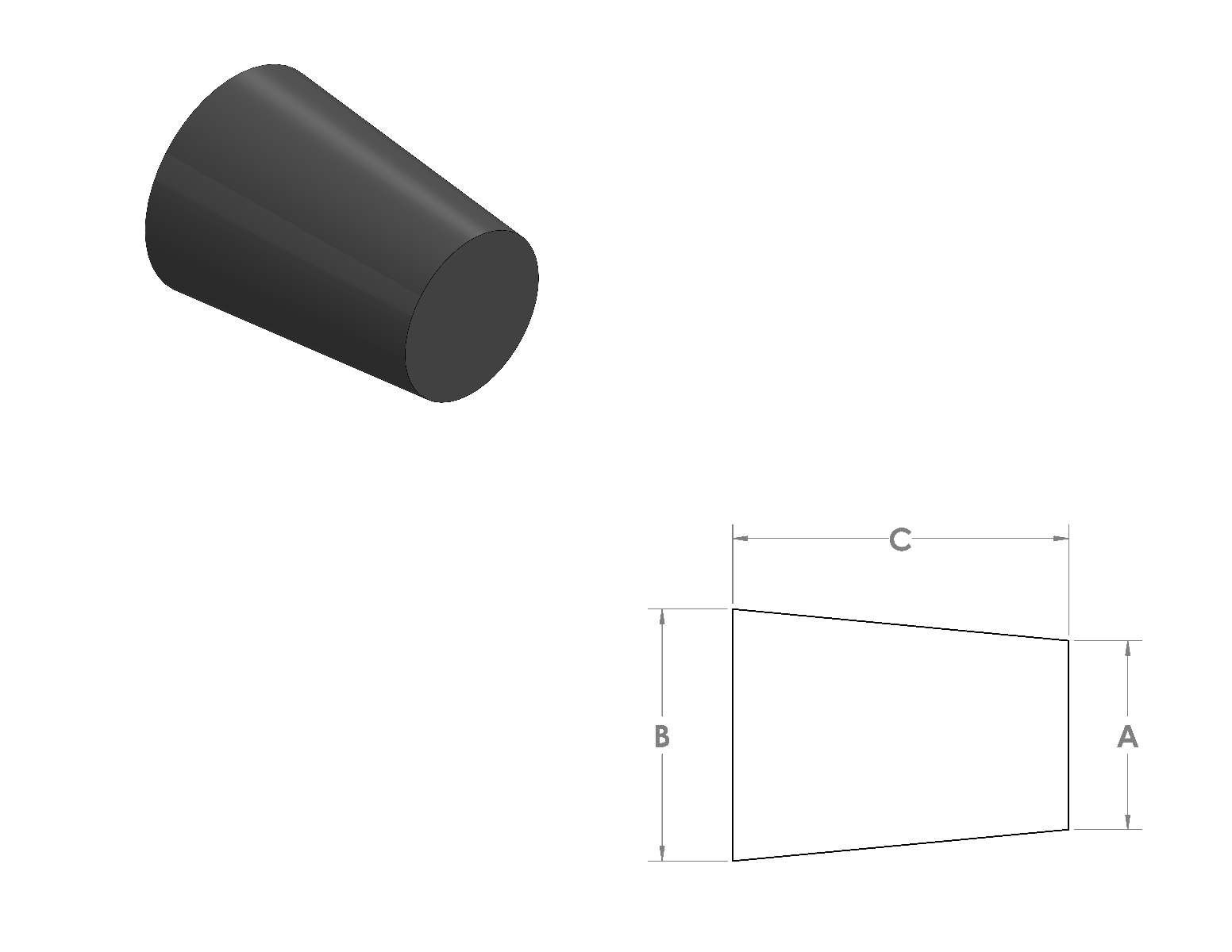 EPDM Tapered Plugs CAD Drawing