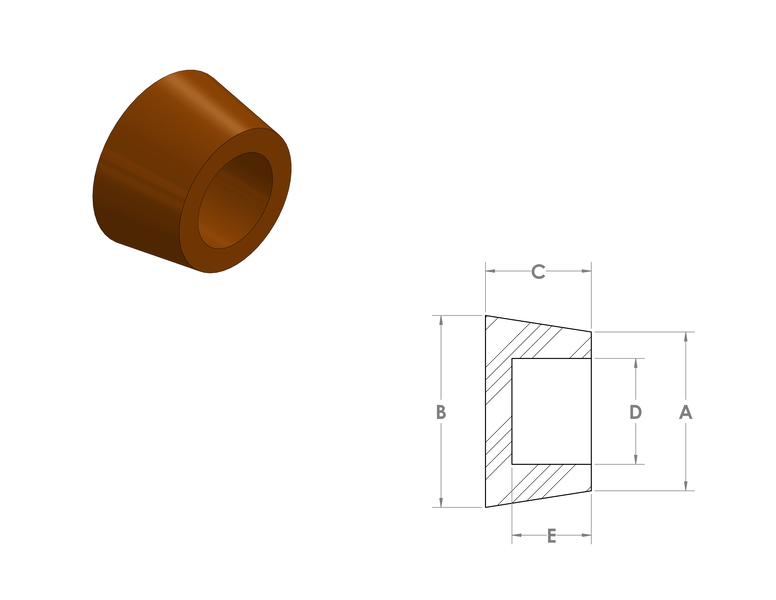 Silicone Hollow Tapered Plugs CAD Drawing
