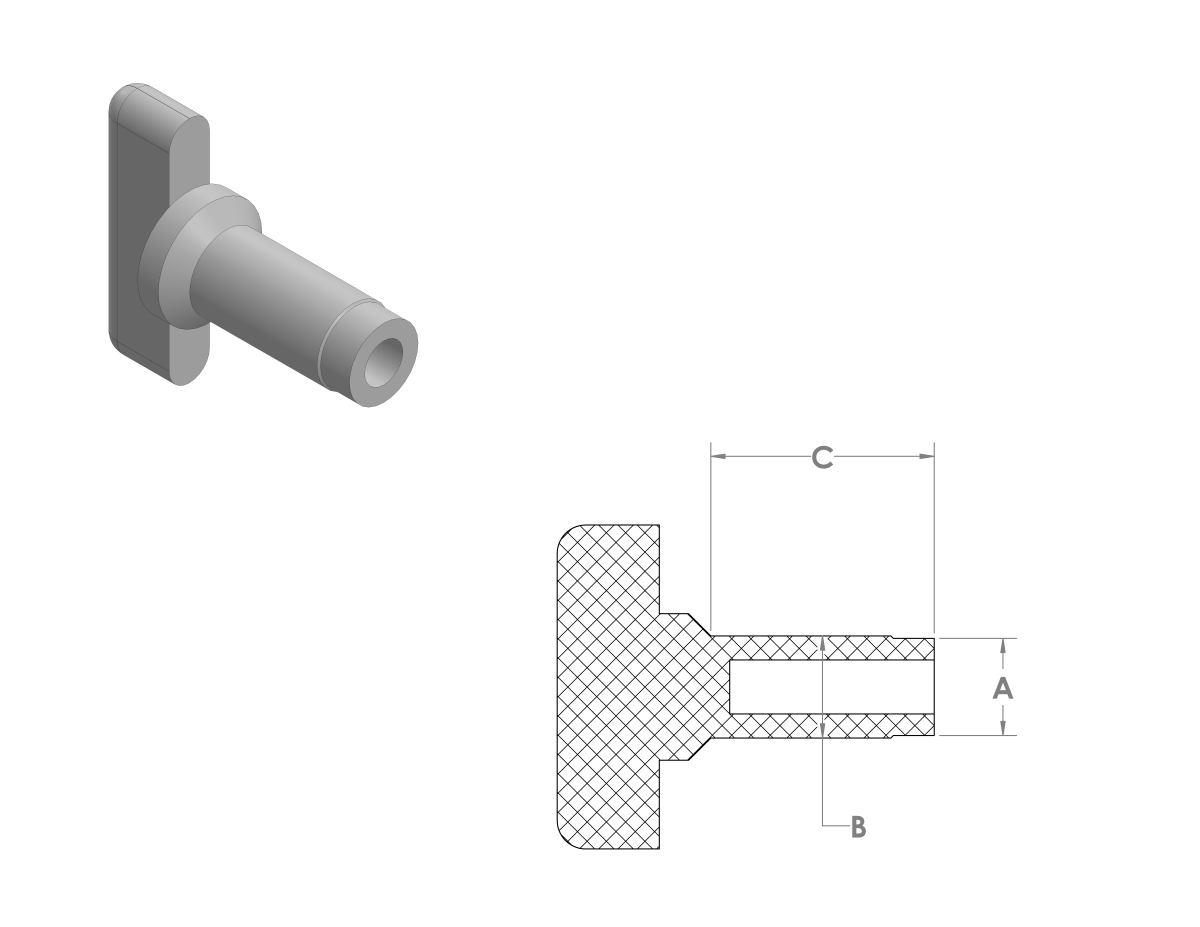 High Temp Self Threading Plugs CAD Drawing