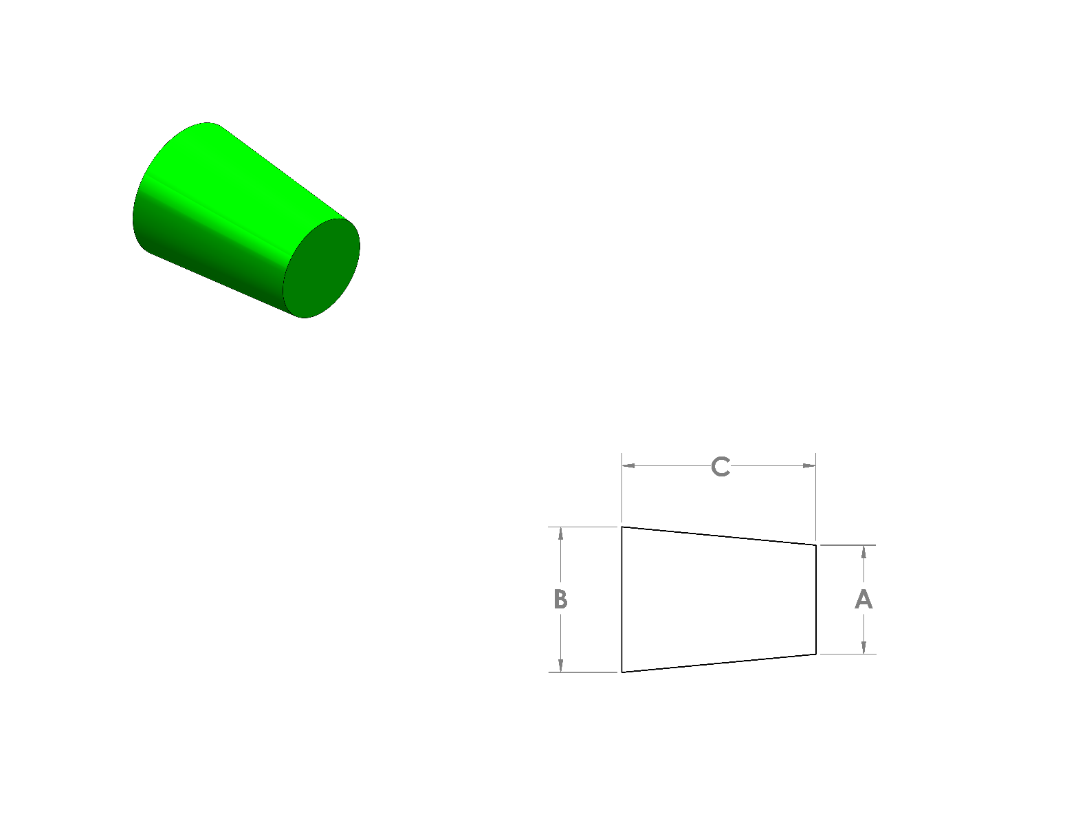 Silicone Tapered Plugs CAD Drawing