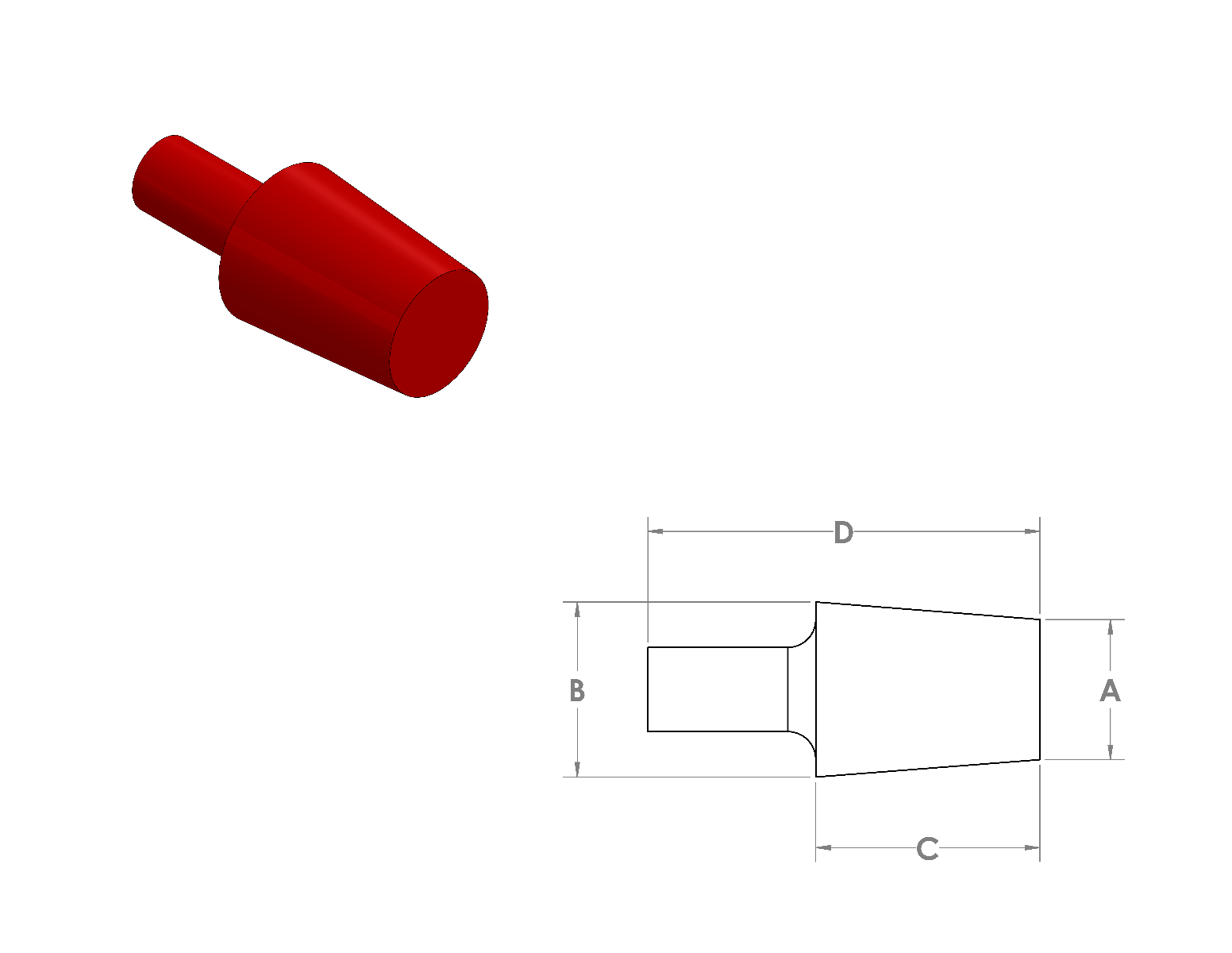 Silicone Tapered Plug W/Handle CAD Drawing