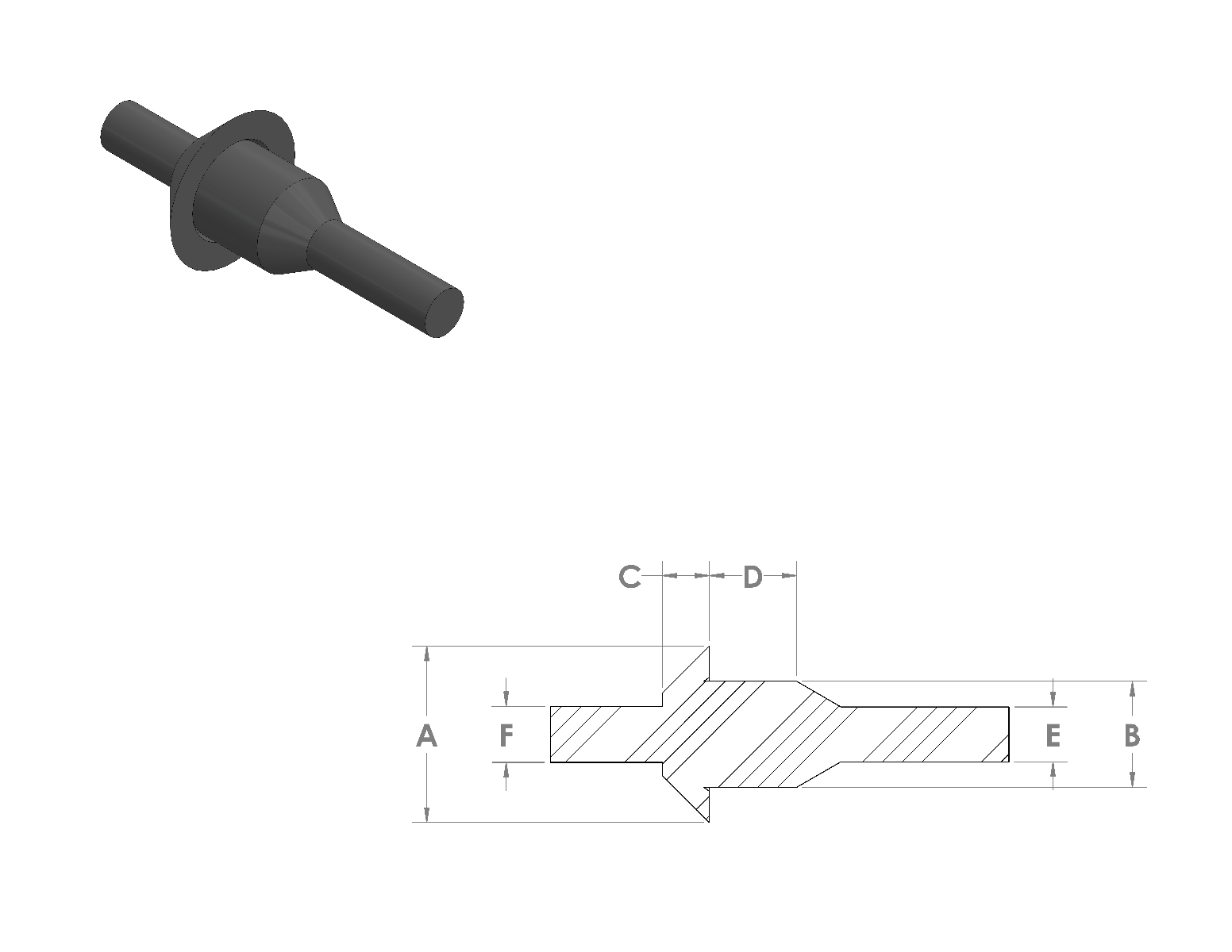 Silicone Washer Pull Plugs CAD Drawing