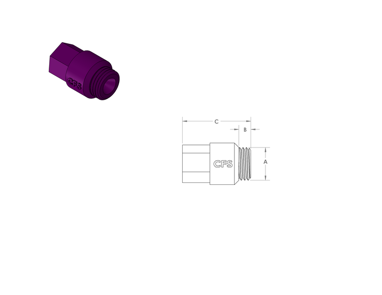 Silicone Coarse Threaded Plugs CAD Drawing